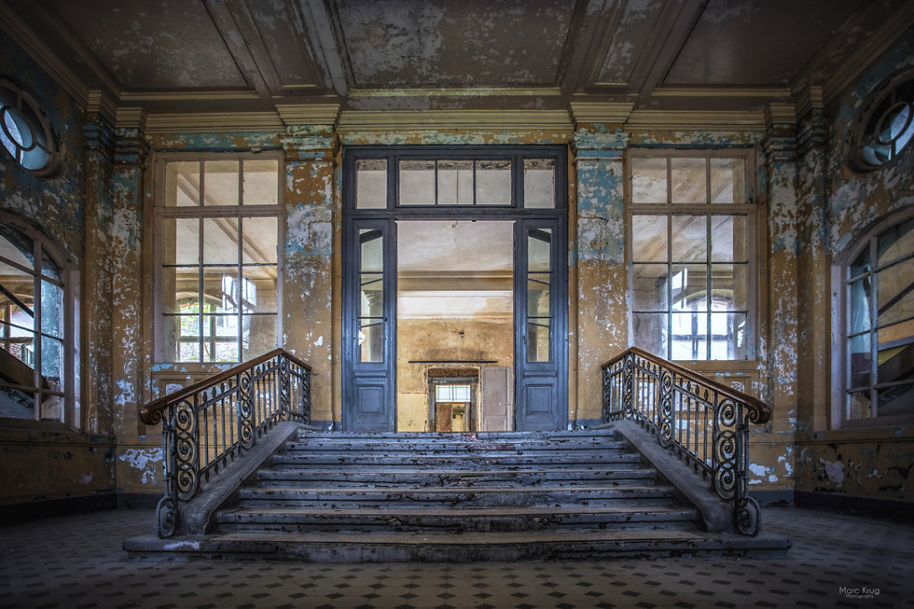 The steps into the hall